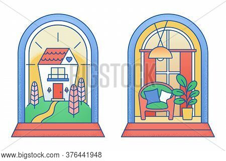 House Cottage Under The Glass Cover. Home In Safety Cover. Concept Of Real Estate Insurance, Propert