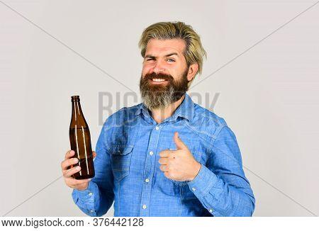 Making Homemade Kombucha. Refreshing Lemonade. Soda Drink. Hipster At Bar. Man Beard And Mustache Ho