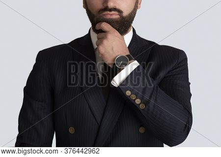 Cropped View Of Successful Entrepreneur In Formalwear With Elegant Watch On Grey Background, Closeup