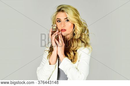 Beauty Product. Woman Hold Bottle Of Perfume. Cologne Bottle. Female Fragrance And Perfumery, Cosmet