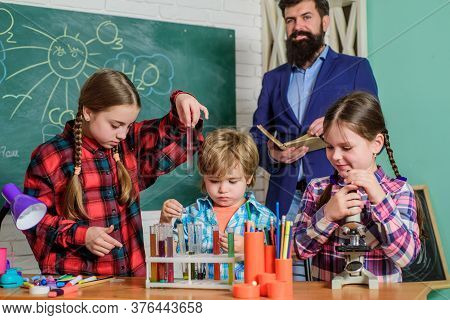 Science Club Is Successful Approach To Stem Education. Elementary Basic Knowledge. Study With Friend