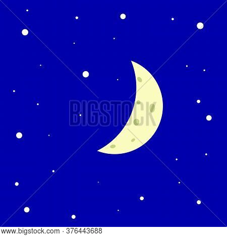 The Bright Moon Against The Blue Sky, The Moon Is Surrounded By Stars. Crescent Moon In The Starry S