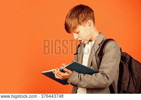 Enriching Life With Knowledge. Boy Student Brown Background. Small Student Write In Copy-book. Littl
