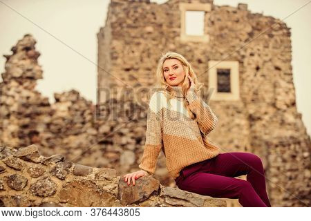 Totally Happy. Autumn Vacation To Ancient City. Travel Destinations. Woman Makeup On Stony Ruins. Ex