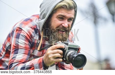 Photography Business. Old Technology. Bearded Man Hipster Take Photo. Brutal Stylish Man With Retro