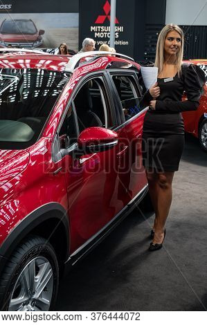 Beautiful Hostess Girl At The Belgrade Car And Motor Show In Belgrade, Serbia