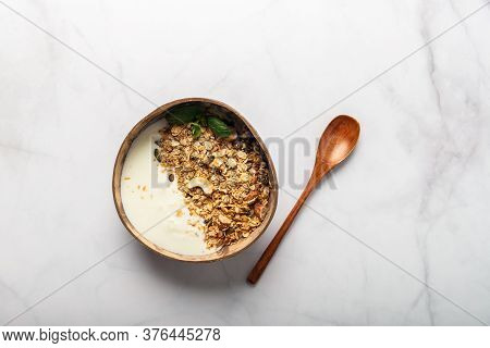 Roasted Healthy Homemade Granola With Gluten Free Rolled Oats Or Porridge Oats, Variety Of Chopped N