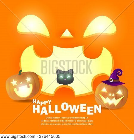 Happy Halloween Poster Party  Pumpkin Patch And Black Cat In The Moonlight, Jack O Lantern Party. Tr