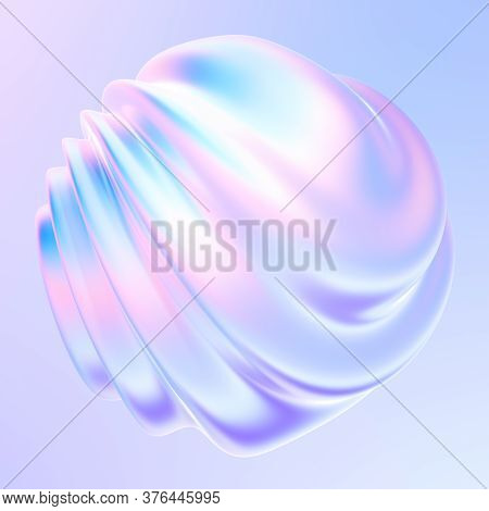 Fluid Shape Design Element With Waves And Ripples. Holographic Bright Iridescent Gradient Shape For