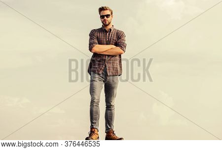 Eyes Health. Handsome Guy Wear Sunglasses. Hipster Man In Trendy Sunglasses. Fashionable Sunglasses.
