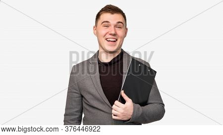 Successful Business Man Portrait. Professional Career. Cheerful Employee Smiling Isolated On White B