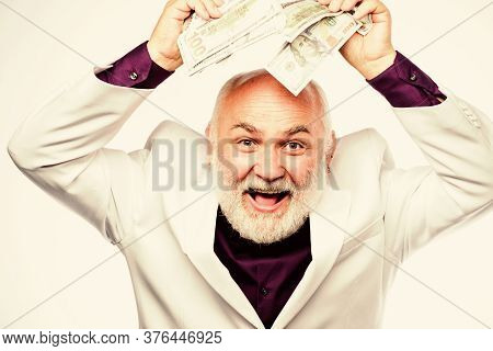 Successful Lucky Businessman. Senior Man Pensioner Hold Cash Money. Earn Money Profit. Banking And M