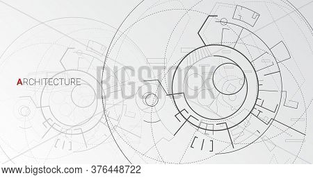 Architecture Concept. Architectural Schematic Drawing With Abstract Building Plan, On Gray Vector Ba