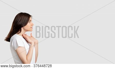 Ads Background. Special Offer. Surprised Woman Isolated Looking At Neutral Copy Space.