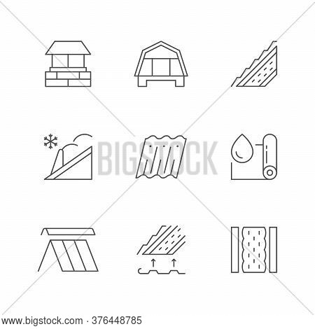 Set Line Outline Icons Of Roof Isolated On White. Chimney, Snow Guards, Waterproof Membrane, Insulat
