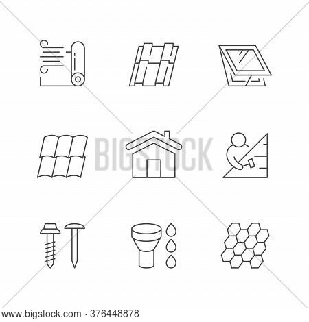 Set Line Outline Icons Of Roof Isolated On White. Wind Membrane, Insulation, Attic Window, Different