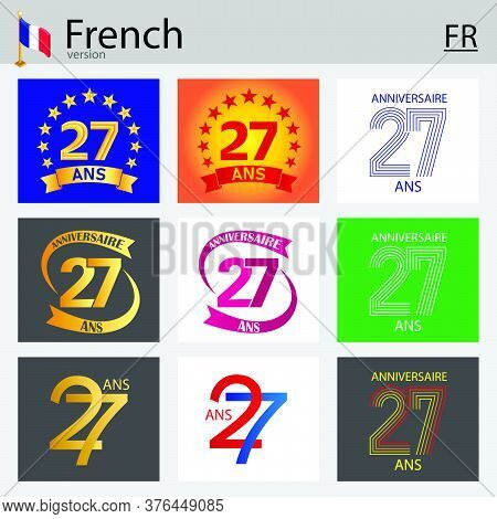 French Set Of Number Twenty-seven Years (27 Years) Celebration Design. Anniversary Vector Number Tem