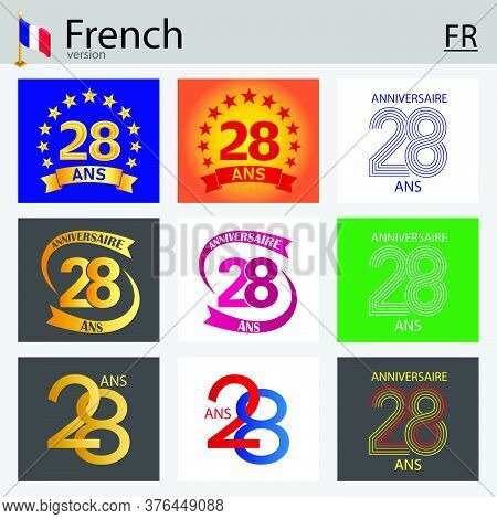 French Set Of Number Twenty-eight Years (28 Years) Celebration Design. Anniversary Vector Number Tem