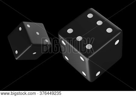 Cubes For Backgammon 3d Rendering. Play Dice Roll. Dice Illustration On Black Forn