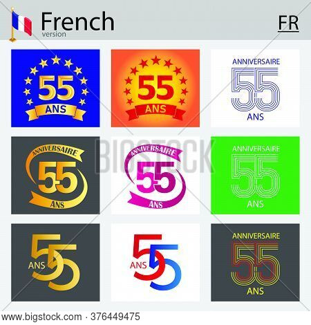 French Set Of Number Fifty-five Years (55 Years) Celebration Design. Anniversary Vector Number Templ