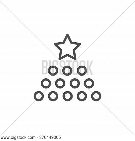 Rate Level Line Outline Icon Isolated On White. Evaluation, Classification, Franchise Model Sign. Ve