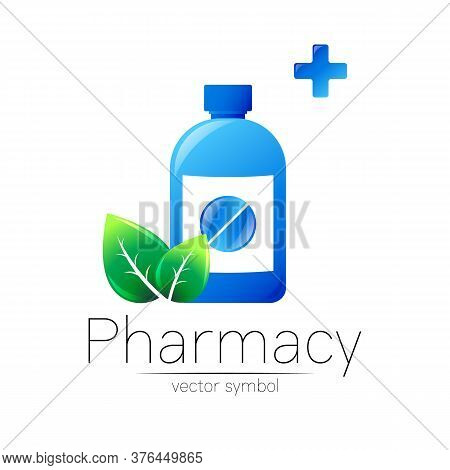 Pharmacy Vector Symbol With Blue Bottle And Pill Tablet, Cross And Green Leaf For Pharmacist, Pharma