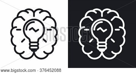 Inspiration Or Imagination Icon. Human Brain With A Light Bulb Inside. Simple Two-tone Vector Illust