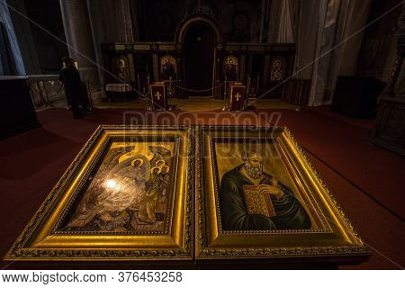 Belgrade, Serbia - October 9, 2016: Religious Icons On Display Inside Of Saint Sava Temple, Hram Sve