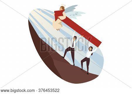 Teamwork, Startup, Religion, Christianity, Business Concept. Jesus Christ Son Of God Helping Team Of