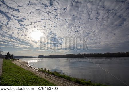 Panorama Of The Danube River And The Border With Croatia From The Quay Of The City Of Apatin, Serbia