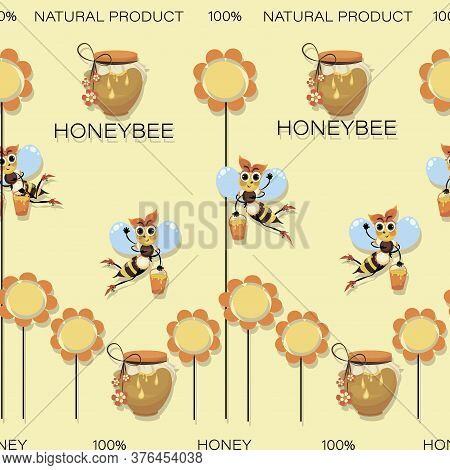 Honey Background. Honeybees. Swarm Of Bees Collects Honey. Seamless Pattern With Cartoon Characters