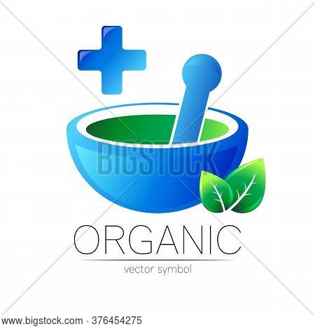 Alternative Medical Logo With Mortar, Pestle And Blue Cross, Leaves. Natural Therapy Sign For Identi