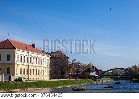 Zrenjanin, Serbia - November 23, 2019: Austro Hungarian Buildings In The Center Of Zrenjanin, Next T
