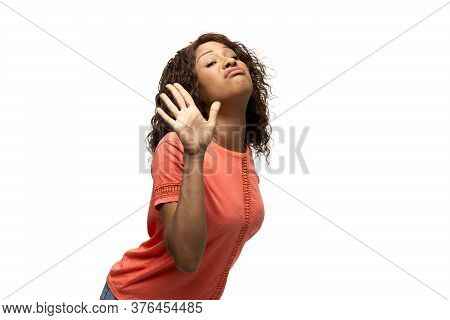 Bye Bye Dudes. Young African-american Woman With Funny, Unusual Popular Emotions And Gestures On Whi
