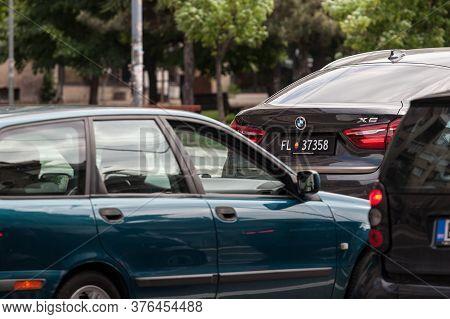 Belgrade, Serbia - May 3, 2020: Car With Licence Plates From Liechtenstein Waitin In A Traffic Jam,