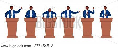 A Male African-american Politician Has A Speech On The Tribune. Different Emotions Of A Political Ca
