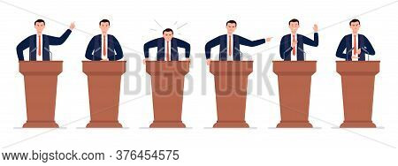 A Male Politician Has A Speech On The Tribune. Different Emotions Of A Political Candidate. Public S