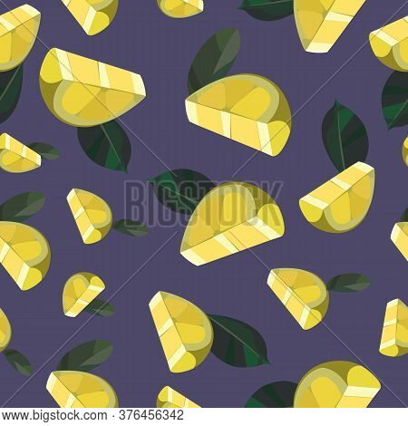 Seamless Summer Pattern With Lemons And Leaves. Yellow Background With Lemons.  Decorative Illustrat