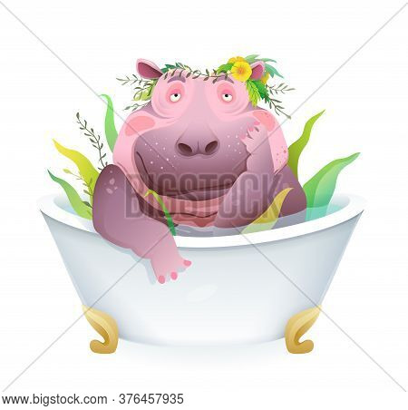 Humorous Pet Grooming Cartoon With Cute And Funny Female Hippopotamus Taking Herbal Bath. Fatty Hipp