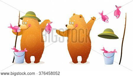 Cute Bear Fisherman Character Standing Holding Catch, Bucket, And Fishing Rod. Animals Leisure Summe