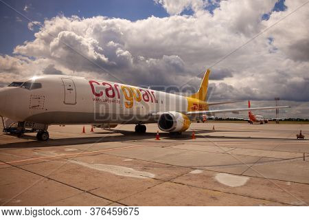 Kyiv, Ukraine - July 08, 2020: Dhl Plane Lz-cgt Cargo Air Boeing 737-400f Standing At The Airport. C