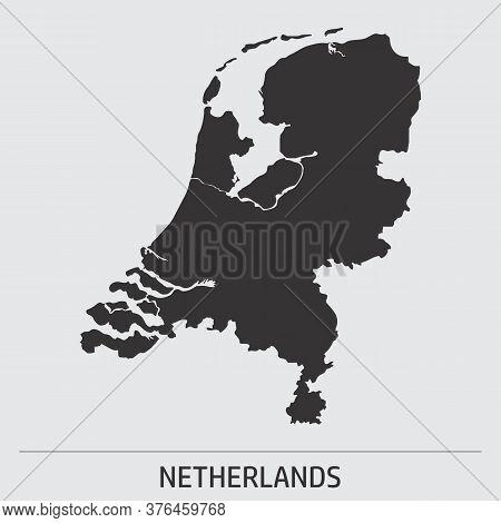 Netherlands Dark Silhouette Map Icon On Gray Background