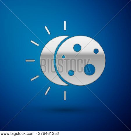 Silver Eclipse Of The Sun Icon Isolated On Blue Background. Total Sonar Eclipse. Vector Illustration