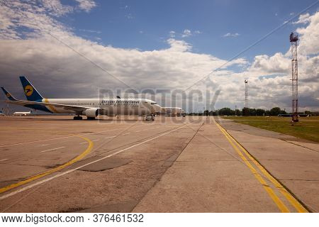 Ukraine, Kyiv - July 8, 2020: Passenger Aircraft Uia Airlenes. Boryspil International Airport. Many