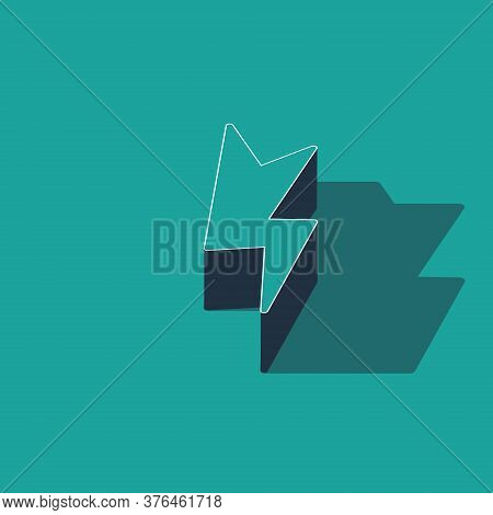 Isometric Lightning Bolt Icon Isolated On Green Background. Flash Sign. Charge Flash Icon. Thunder B