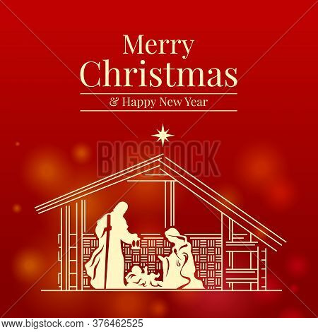 Merry Christmas And Happy New Year Banner With Nativity Of Jesus Scene On Red Background Vector Desi