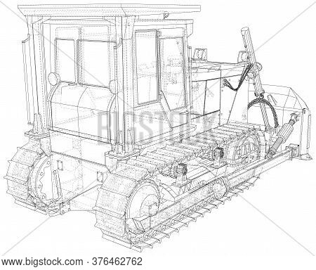 Powerful Hydraulic Bulldozer. Wire-frame. Vehicle Vector Illustration Transport. The Layers Of Visib