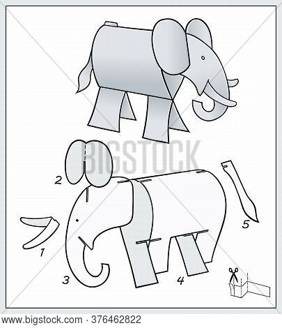 Elefant From Pieces Of Paper. Composite Figure.