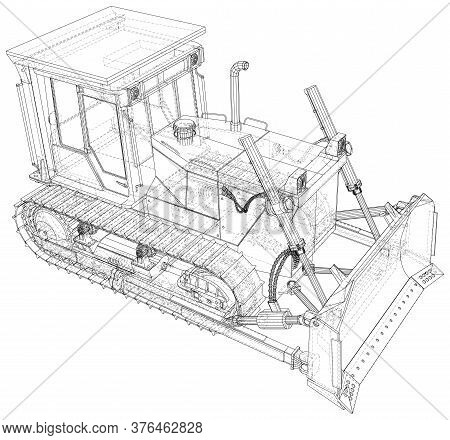 Building Bulldozer Isolated. 3d Rendering. Wire-frame. The Layers Of Visible And Invisible Lines Are