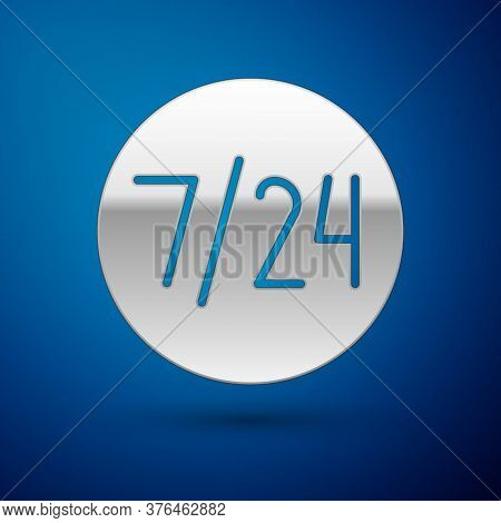 Silver Clock 24 Hours Icon Isolated On Blue Background. All Day Cyclic Icon. 24 Hours Service Symbol